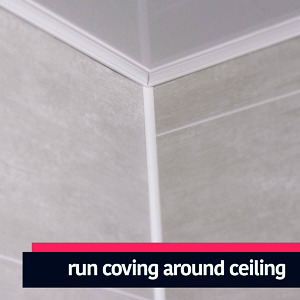 Run your coving cladding trim around the ceiling