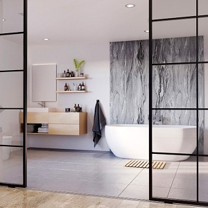 Grey Volterra Showerwall in a bathroom