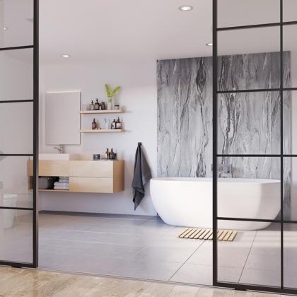 Grey Volterra Showerwall in a bathroom
