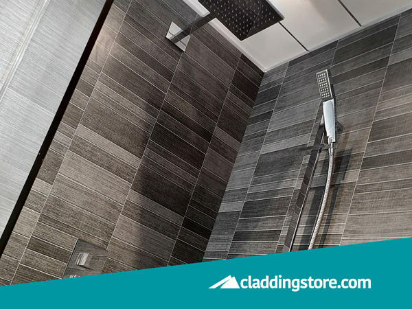 PROPANEL® Grey Anthracite Modern Small Tile used to clad a shower enclosure.