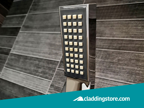 PROPANEL® Grey Anthracite Modern Small Tile used to clad behind shower head.