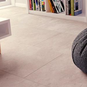 Malmo Rigid Tile Livia LVT waterproof flooring in a living room.