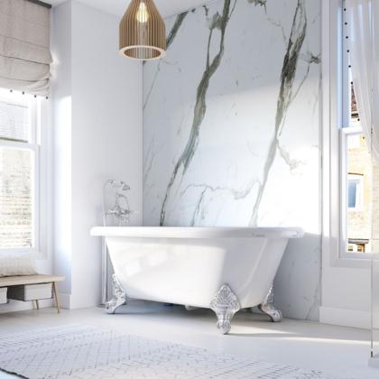 Bianco Carrara Showerwall in a bathroom