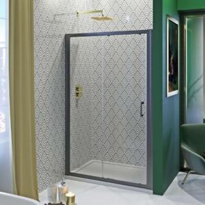Black Geo Acrylic Showerwall in a Shower