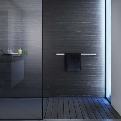 Black Glacial Showerwall in a bathroom