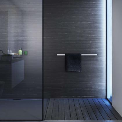 Black Glacial Showerwall in a bathroom