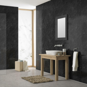 Black Marble Showerwall in a bathroom