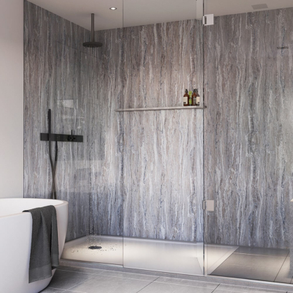 Blue Toned Stone Showerwall in a bathroom