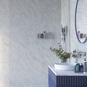 Carrara Marble Showerwall in a bathroom
