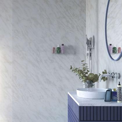 Carrara Marble Showerwall in a bathroom