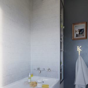 Chalked Brick Showerwall in a bathroom