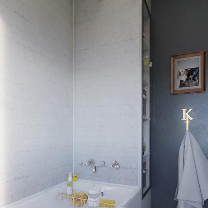Chalked Brick Showerwall in a bathroom