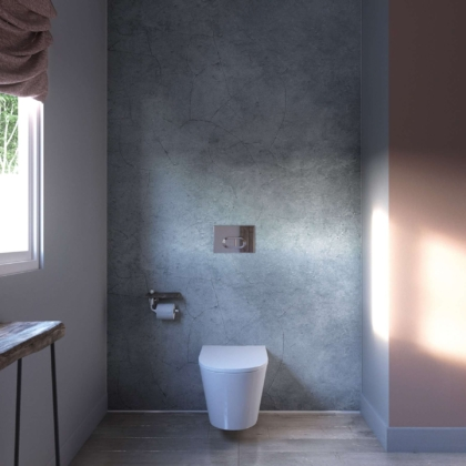 Cracked Grey Showerwall in a bathroom
