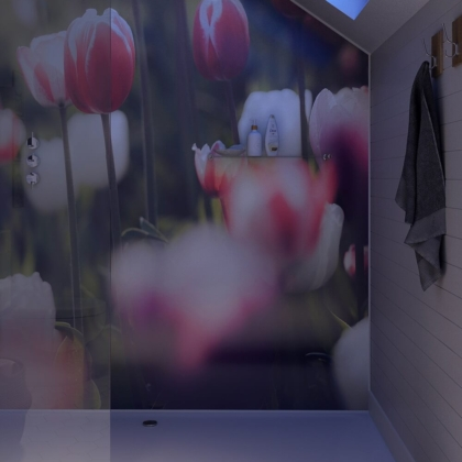Floral Acrylic Showerwall in a shower