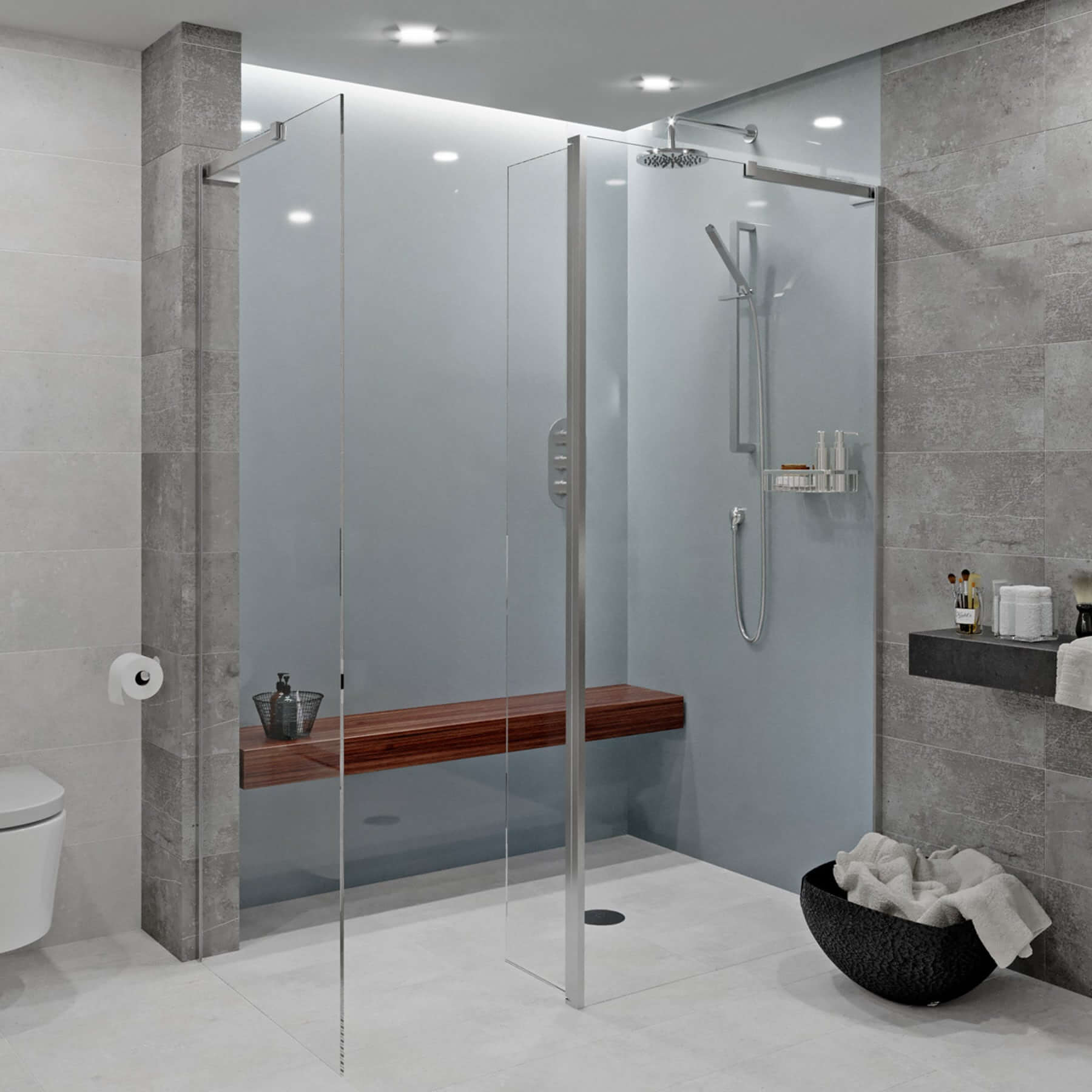 Gunmetal Acrylic Showerwall in a shower