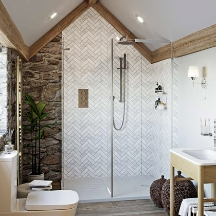 Herringbone Acrylic Showerwall in a bathroom