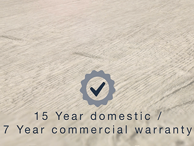 Malmo Greta Rigid LVT flooring comes with 15 year domestic and 7 year commercial warranty.