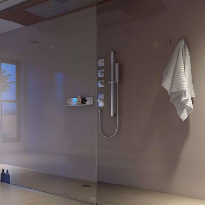 Mocha Acrylic Showerwall in a shower