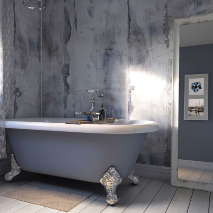 Nautical Wood Showerwall in a bathroom