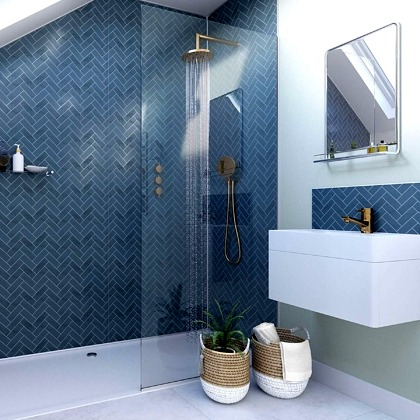 Navy Herringbone Acrylic Showerwall in a bathroom