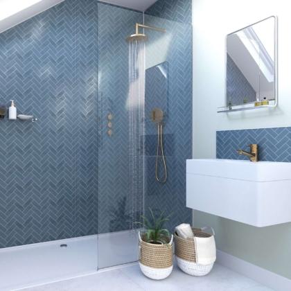 Navy Herringbone Acrylic Showerwall in a bathroom