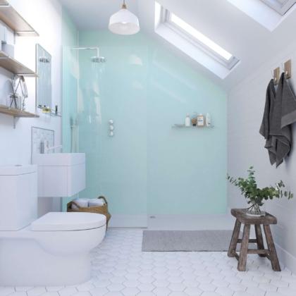 Opal Acrylic Showerwall in a bathroom