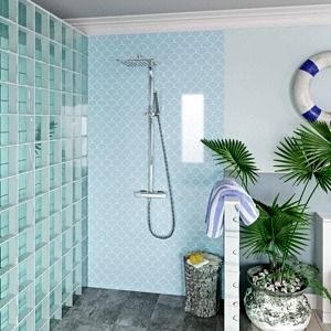Scallop Blue Acrylic Showerwall in a shower