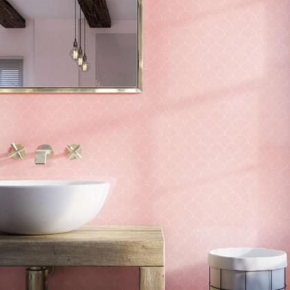 Scallop Blush Acrylic Showerwall in a bathroom