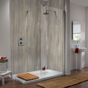 Silver Travertine Showerwall in a bathroom