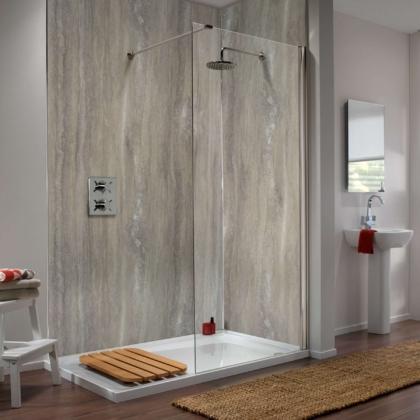 Silver Travertine Showerwall in a bathroom