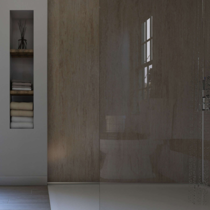 Travertine Gloss Showerwall in a bathroom