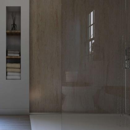 Travertine Gloss Showerwall in a bathroom