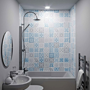 Victorian Blue Acrylic Showerwall in a bathroom