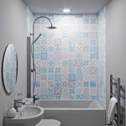 Victorian Blue Acrylic Showerwall in a bathroom