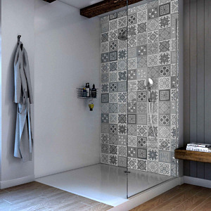 Victorian Grey Acrylic Showerwall in a bathroom