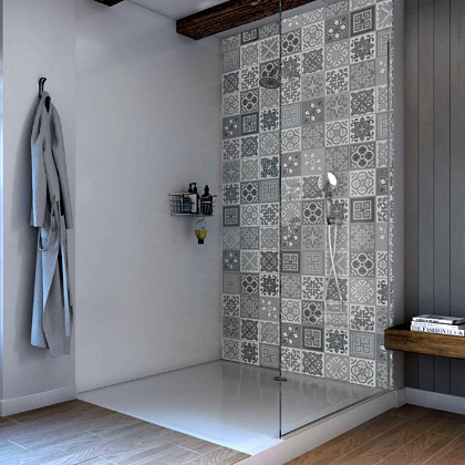 Victorian Grey Acrylic Showerwall in a bathroom
