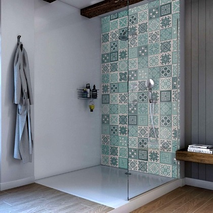 Victorian Turquoise Acrylic Showerwall in a shower