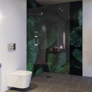 Wax Leaf Acrylic Showerwall in a bathroom