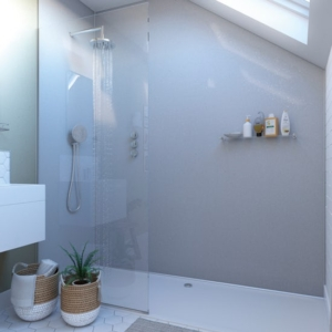 White Sparkle Showerwall in a bathroom
