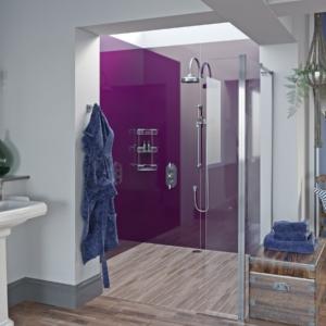 Wine Acrylic Showerwall in a shower