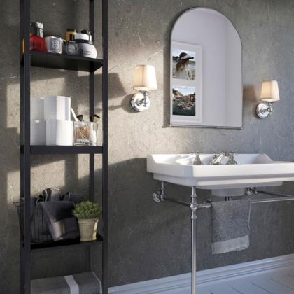 Zamora Marble Showerwall in a bathroom