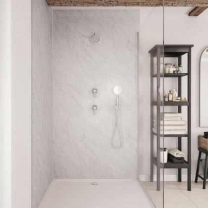 Apollo Marble Showerwall used in a bathroom.