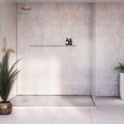 Gold Slate Showerwall used in a bathroom.