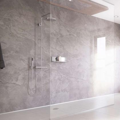 Moonstone Showerwall used in a bathroom.