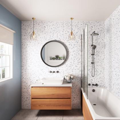 Positano Blue Showerwall used in a bathroom.