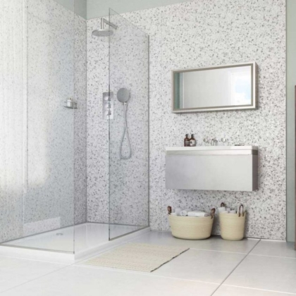 Positano Grey Showerwall used in a bathroom.